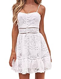 Longra Bianco Vestiti Donna Estate Corti Donna Elegante Gonna Tulle Donna  Donne Vestito Pizzo Floreale Halter a62baa7d658