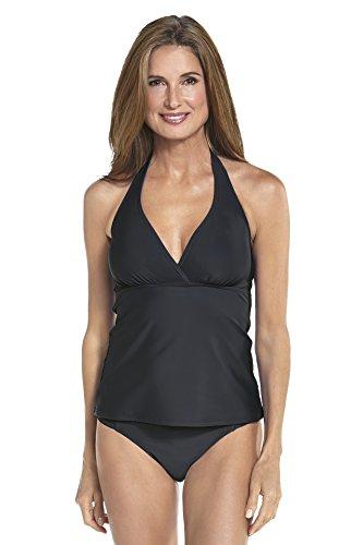 Coolibar Damen Bandeau Tankini UV-Schutz 50+ Schwarz, 38 (Schwimmen Shirt Coolibar)