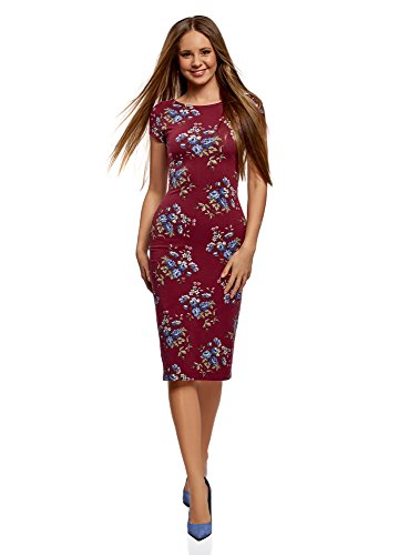 oodji Collection Damen Midi-Kleid mit Ausschnitt am Rücken, Rot, DE 34/EU 36/XS