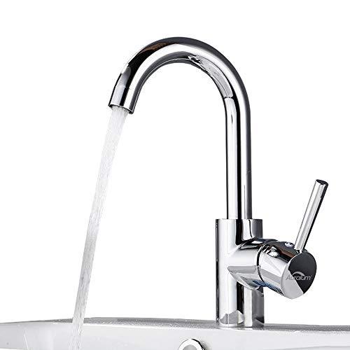 Auralum 360° Drehbar Wasserhahn für Küche und Waschbeken, Küche Mischbatterie Waschbecken Einhebel-Waschtischmischer