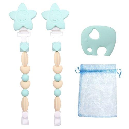 Preisvergleich Produktbild 2 PCS Silikon Baby Schnullerketten Schnuller-Clip Beißring Kinder Schnullerhalter Soother Chain für Jungen/ Mädchen + Beutel + Elefant Beißring