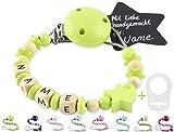 ZauberStern Schnullerkette mit Namen | für Mädchen & Junge | Handgefertigt in Deutschland aus 100% HOLZ | mit Perlen, Buchstaben mit Name und Clip | GRATIS Silikonring Adapter (Grün)