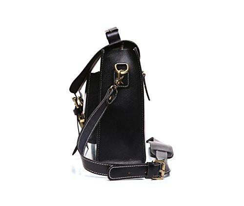 Genda 2Archer in Pelle Classica Studenti Universitari Borsa Messenger Bag (32,5 cm* 9cm * 25cm) Nero