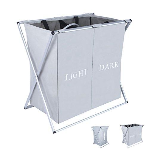 dokehom-dka0203gy-large-2-sections-laundry-basket-foldable-washing-basket-fabric-laundry-hamper-grey