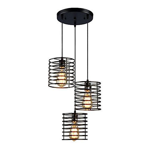LIUSUN LIULU Antikes Schwarz Metall Pendelleuchte,Rustikale Deckenleuchte Kronleuchter Lampen