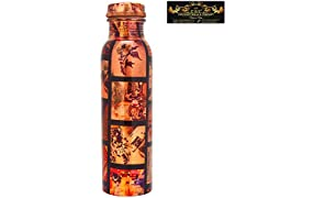 CROCKERY WALA AND COMPANY Joint-free Leak-Proof Ethnic Printed Copper Water Bottle for Travel Purpose (1L)