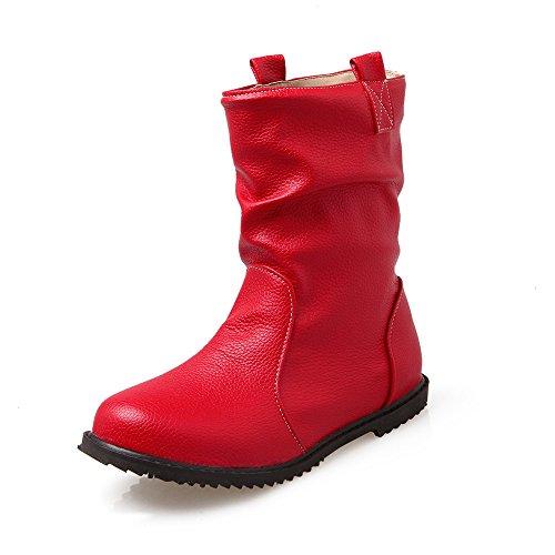 QIN&X Donna tacco piatto Breve stivali scarpe Red