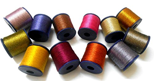 Metallic zari threads colourful shiny threads for crafts, embroidery, jewellery making