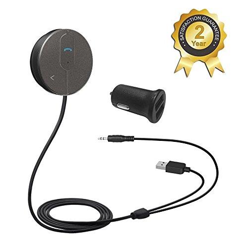 Besign Bluetooth 4.1 Freisprecheinrichtung: Freisprechanlage und kabelloses Streaming über die KFZ Lautsprecher, mit 3.5 mm Klinke, Magnetic Base, and Dual USB port Kfz Ladegerät 2A (Metall-grau)