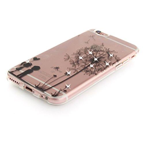 """Coque iPhone 6s, SsHhUu Ultra Mince [Crystal Diamonds] Flexible Caoutchouc Doux TPU Étui Bumper Silicone Gel Anti-Scratch Cover pour Apple iPhone 6 / 6s (4.7"""") Mandala Noir Pissenlit"""