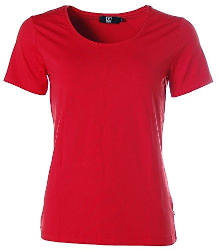 Jette Damen Basic Kurzarm Shirt T-Shirt Rundhals Rot 42