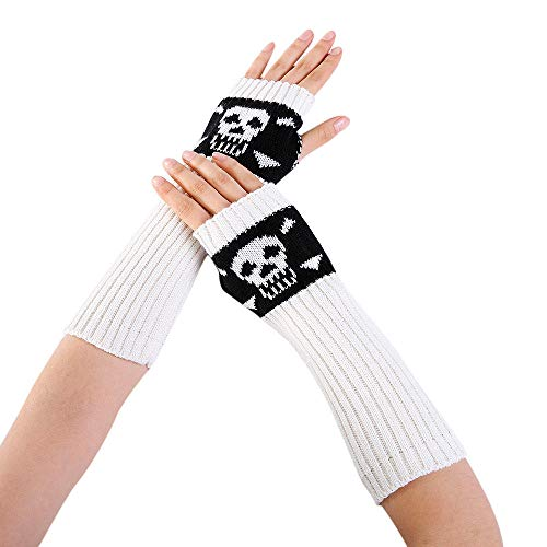 Fingerlose Handschuhe,Frauen Handschuhe Herbst Winter Handgelenk Armstulpen Skull Stretchkleid Handschuhe Lange Fingerlose Touchscreen Handschuhe Weiss Chinchilla Hülse