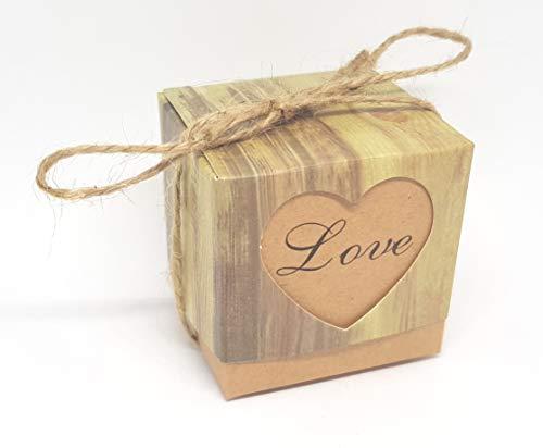 Wagners Kraft Papier Candy-Box Geschenk-Box für Gastgeschenke Hochzeit - Quadrat (20)