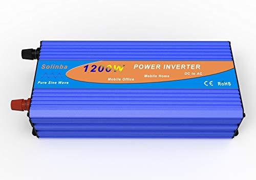 Solinba Spannungswandler Wechselrichter Power Inverter 1200w Reine Sinuswelle Pure Sine Wave Off Grid Peak 2500w Converter DC24v to AC230v 50Hz (DC24V)