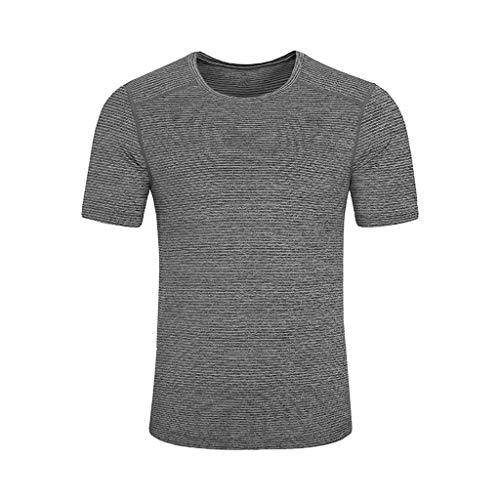 Xmiral Oberteile Herren Sommer Plusgröße Polyester Oansatz T-Shirt Atmungsaktiv Kurze Ärmel Fitness Sport Schnell trocken Einfarbig(L,Grau)