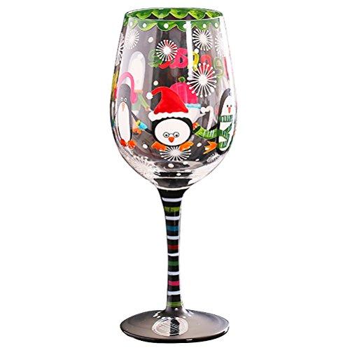 Weihnachten Geburtstag Bash Artisan Hand bemalte Weinglas (Von Hand Bemalt Weingläser)