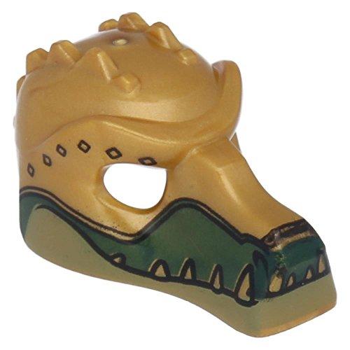 Preisvergleich Produktbild 5 x LEGO® Figuren,  Kopfbedeckung Maske Krokodil mit goldenen Zähnen Perlgold