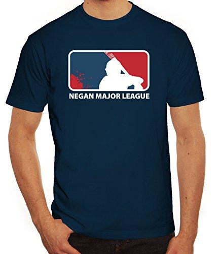 erie Herren T-Shirt mit Negan Major League Motiv, Größe: M,Dunkelblau (Zombie T Shirt Ideen)