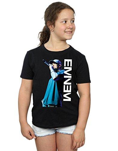 T-shirt Mädchen Für Eminem (Eminem Mädchen Mic Pose T-Shirt 7-8 Years Schwarz)