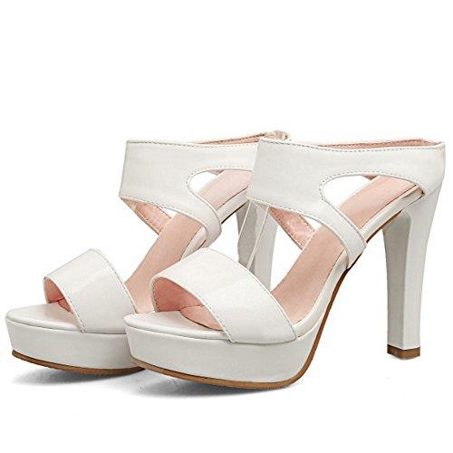 TAOFFEN Damen Mode Plateau Open Toe Pantoffeln Sandalen Blockabsatz Shoes Weiß