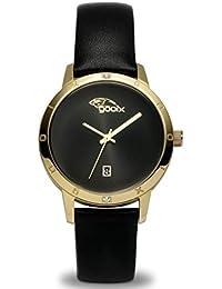 gooix DUA-05894 correa de acero inoxidable reloj de pulsera 50 M FECHA negro oro blanco zirconia
