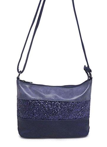 Gallantry -Sac bandoulière / sac porté épaule / sac paillettes femme / Sac Strass (Bleu)