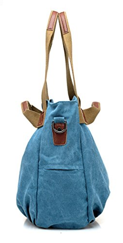 Tibes beiläufige Segeltuch Handtaschen Retro Schulterbeutel Handtaschen der Frauen Schwarz