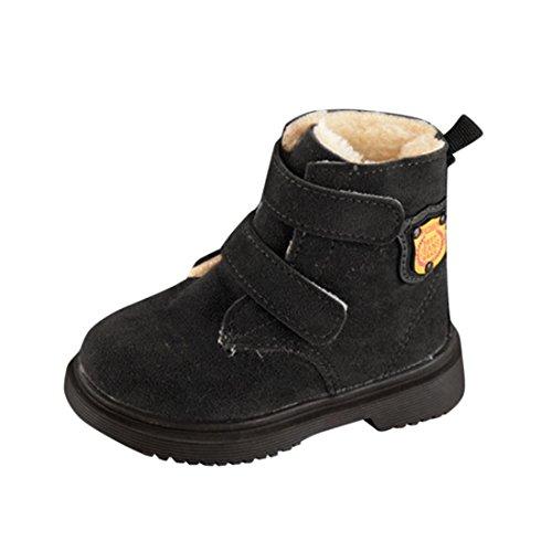 Btruely Warm Kinder Stiefel Winter Warm Baby Sneaker Jungen Mädchen Beiläufig Schneeschuhe Kleinkind Schuhe (23, Schwarz)