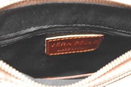 CTM Borsa Elegante da Donna con Tracolla, 22x24x4cm, Vera pelle 100% Made in Italy Marrone