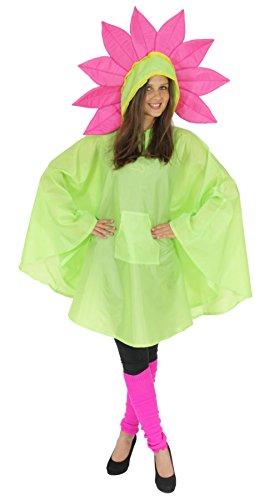 Foxxeo 40143 | Blume Party Poncho für Erwachsene Karneval Fasching Party Regen Cape Umhang
