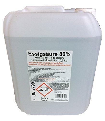 Essigsäure 80 Prozent Lebensmittelqualität 10 Liter Kanister 10,5 kg VERSANDKOSTENFREI E 2 60