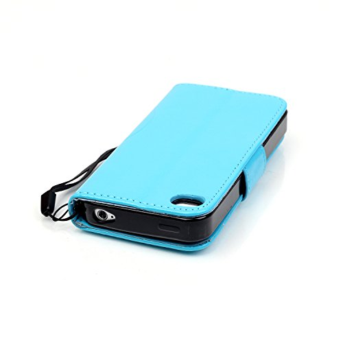 Coque pour iPhone 4S, Housse pour iPhone 4S, iPhone 4/4S Etui en PU Cuir Portefeuille Coque Bookstyle Étui Folio Housse, Ukayfe Etui de Protection PU Cuir Portefeuille Housse Swag Leather Cartoon Case Diamant Papillon-Azur