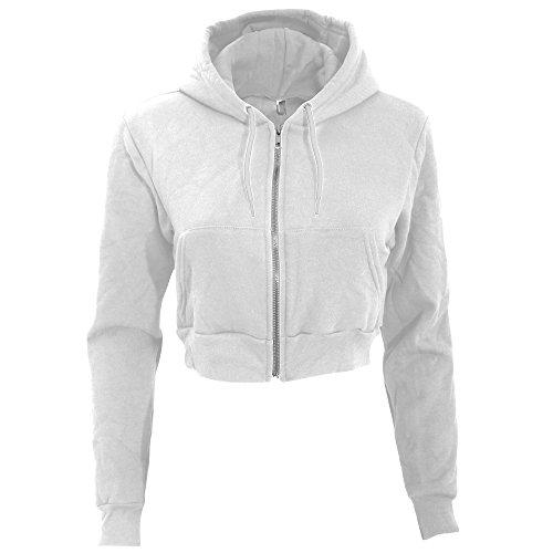 American Apparel Damen Flex Fleece Kapuzenjacke / Hoodie, kurz (XS) (Weiß)