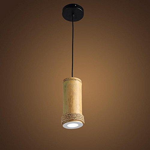 BJVB Lampada LED su parete lampada legno fascio lampadario soffitto LightHemp corda Lampadario corda pendente a testa singola campagna - Rod Del Fascio