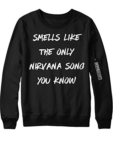 Sweatshirt SMELL LIKE THE ONLY NIRVANA SONG YOU KNOW F960011 Schwarz (Kostüm Kurt Cobain)