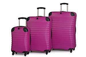 IT Luggage Palermo Dark Pink Expandable Corner Protector Hard Shell Spinner 3 piece Set