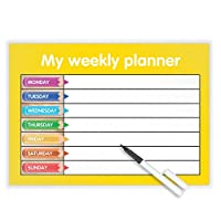 MY WEEKLY PLANNER - Wipe clean finish - Free dry-wipe pen -SHOPPING/ KIDS /TASKS Yellow