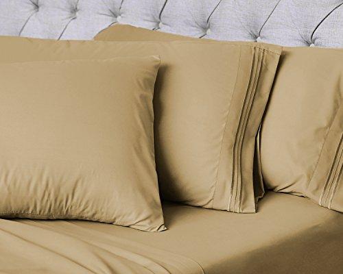 Luxor Linens-6-Bettlaken-Set-Hotel Qualität Giovanni Collection Ägyptische Komfort-Bettlaken-Set -, Luxuriös, Falten und farbbeständige-14Farben & 4Größen erhältlich Full Gold -