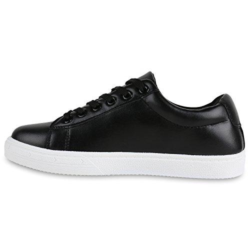 Sneakers Low Damen Lack & Glitzer Turnschuhe Freizeit Schuhe Schwarz Schwarz Brooklyn