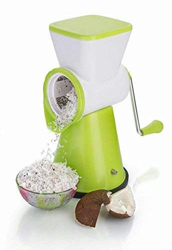 Shraddha 6 In 1 Rotary Slicer Grater And Shredder For Vegetables, Fruits, Dry-Fruits Drum Grater For Kitchen With Stainless Steel Blade(Green)