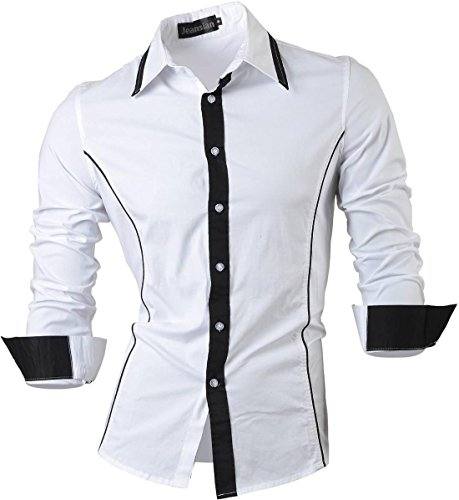 Jeansian uomo camicie maniche lunghe moda men shirts slim fit causal long sleves fashion 8015 white m