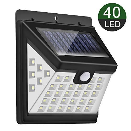 Solarleuchte für Außen,【270° Superhelle-1 Stück】Priksia 40 LED Solarlampen mit Bewegungsmelder Wasserdichte 2000mAh Solar Beleuchtung LED Solar Wandleuchte mit 3 Modi Solarlicht für Garten,Patio