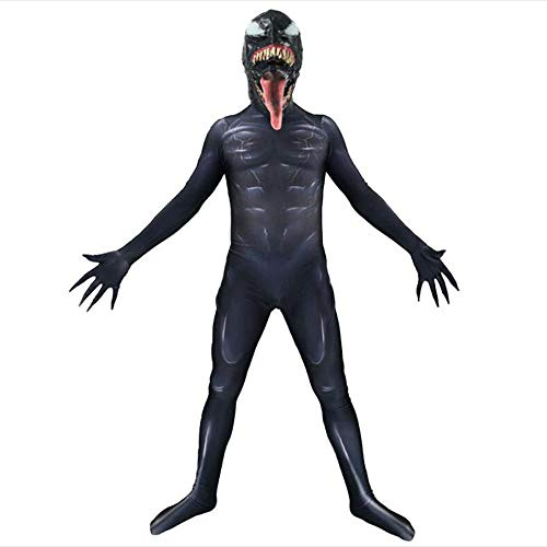 Maskerade Kinder Kostüm - Venom Spiderman Kostüm Horror Halloween Cosplay Body Maskerade Kostüm Erwachsenes Kind Kostüm Kopfbedeckung Trennung,Child-M