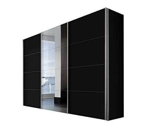 Express Möbel Kleiderschrank Schlafzimmerschrank Schwarz 300 cm mit Spiegel, 3-türig, BxHxT 300x216x68 cm, Art Nr. 49840-708