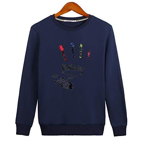 AIFEI Hoodie für Männer Bedruckter Blumenpullover, Blau, M (T-shirts Für Bedruckte Teens-jungs)