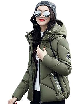 KOROWA Giacche da donna in inverno giù Giacche sottili in cotone imbottito con cappuccio chiusura lampo Outwear