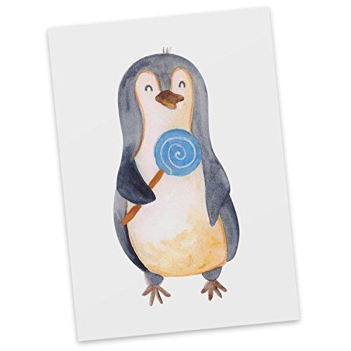 Mr. & Mrs. Panda Sprüche, Einladung, Postkarte Pinguin Lolli - Farbe Weiß