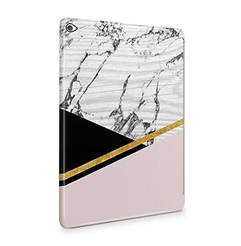 Vintage Cute Coral Pink Golden Marble Tablet Coque Housse Etui De Protection Plastique Dur Ligne Profil Slim Pour iPad Air 2 Hard Plastic Case Cover