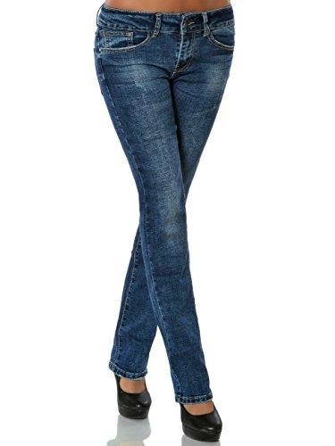 Damen Jeans Straight Leg Hose Gerades Bein No 15818, Farbe:Blau, Größe:M / 38 (Straight Jeans Leg Bootcut)