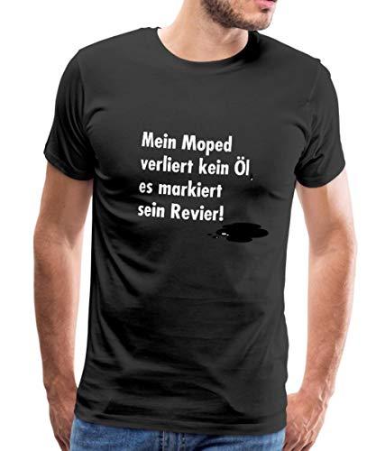 Spreadshirt Motorrad Witziger Spruch Verliert Öl Männer Premium T-Shirt, 5XL, Schwarz